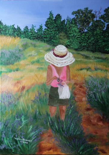 © Die Lavendelpflückerin, Öl auf Leinwand, 70 x 50cm