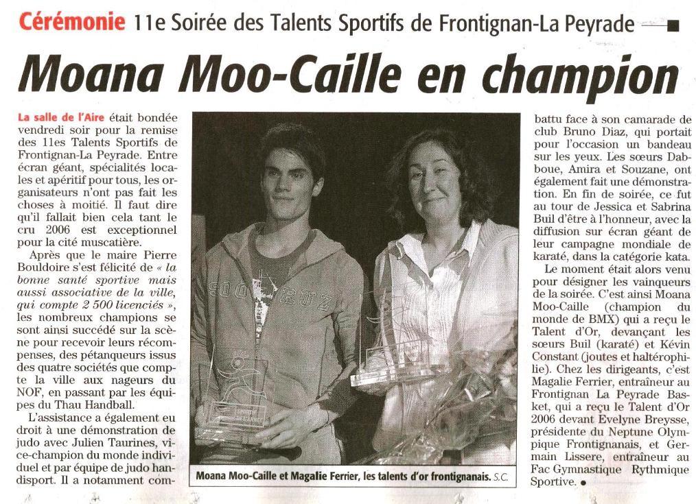 12 Décembre 2006 (Midi Libre): Soirée des Talents Sportifs - Frontignan