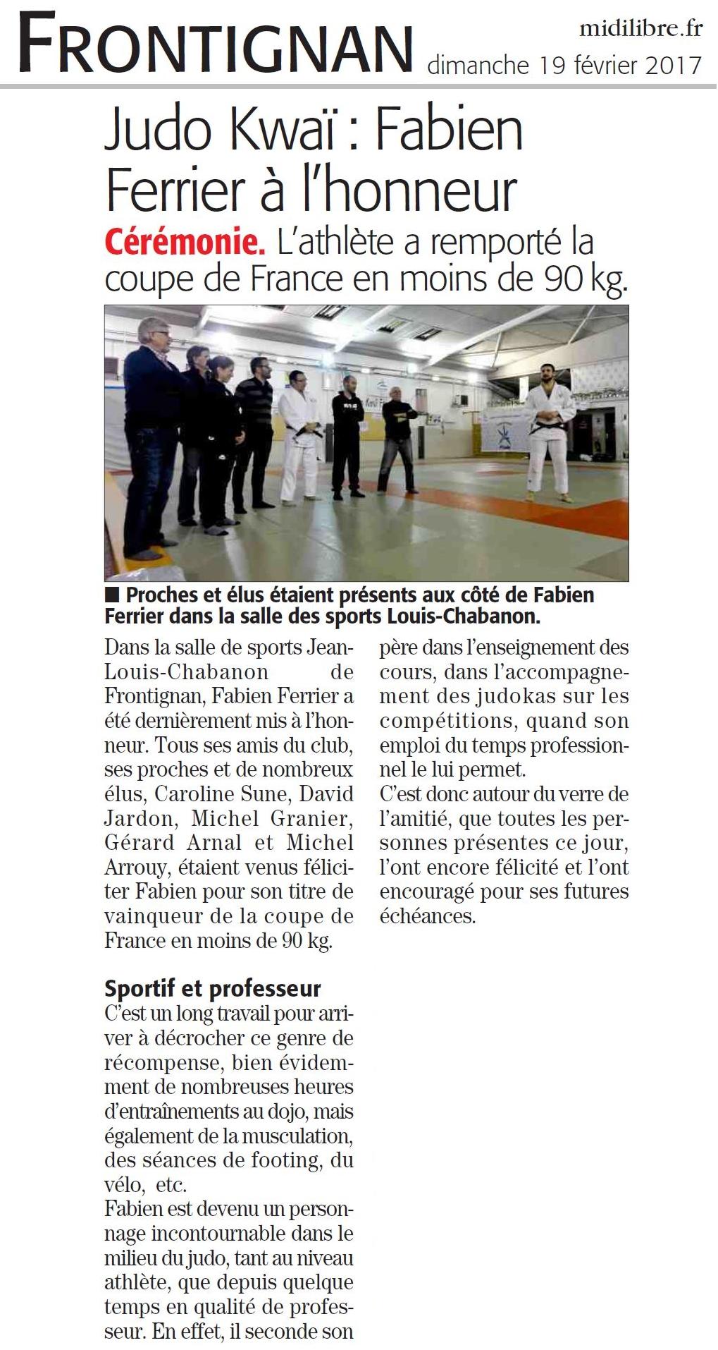 19 Février 2017 (Midi Libre): Fabien Ferrier à l'honneur