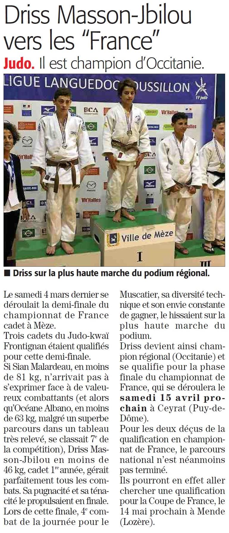 04 Avril 2017 (Midi Libre): Résultats Cadet(te)s et Qualification Championnat de France, Driss Masson Jbilou
