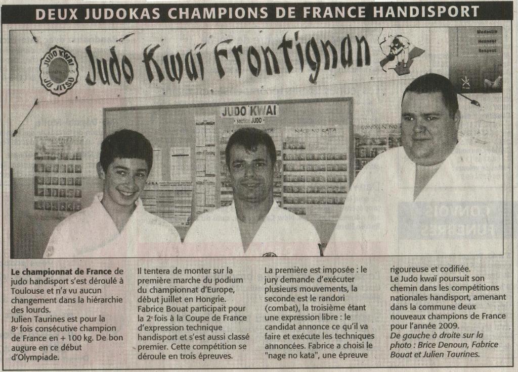 13 Février 2009 (Midi Libre): Championnat de France Handisport