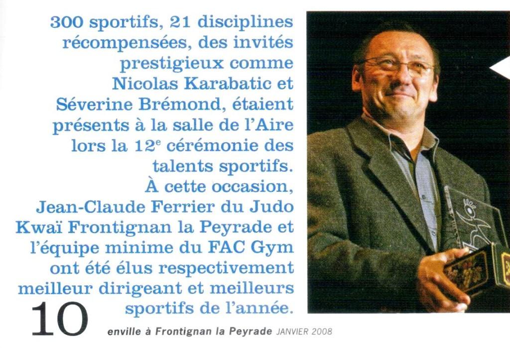 Janvier 2008 (Ville de Frontignan): JC Ferrier - Talent d'Or du Dirigeant