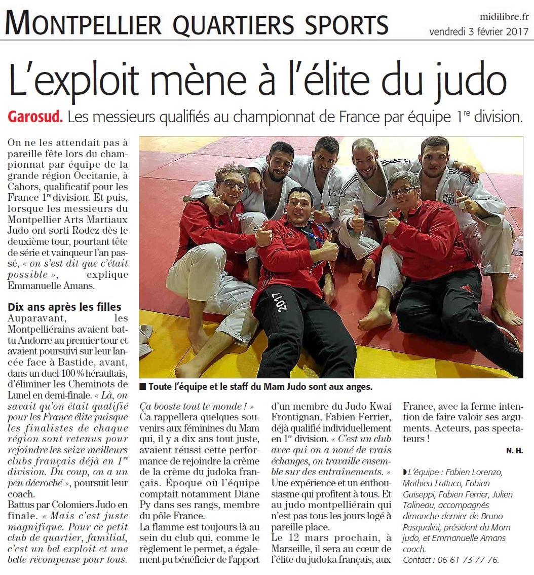 03 Février 2017 (Midi Libre - Montpellier): Fabien Ferrier avec le Montpellier Arts Martiaux - Championnat de France par Equipes 1ère Division
