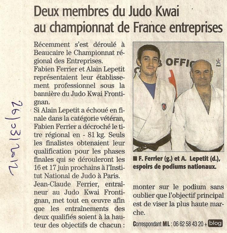 26 Mars 2012 (Midi Libre): Deux membres du Judo Kwai au Championnat de France Entreprises