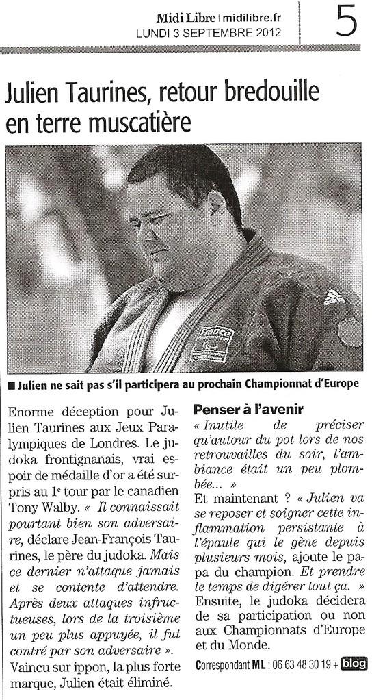 03 Septembre 2012 (Midi Libre):Julien Taurines, retour en terre muscatière