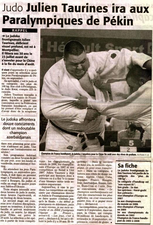 12 Juillet 2008 (Midi Libre): Julien Taurines aux Jeux Paralympiques de Pékin