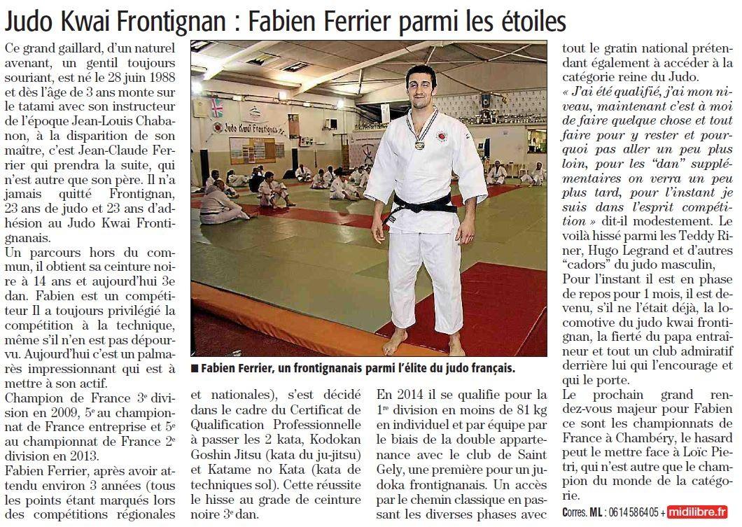12 Mars 2014 (Midi Libre): Fabien Ferrier retrouve la 1ère Division !