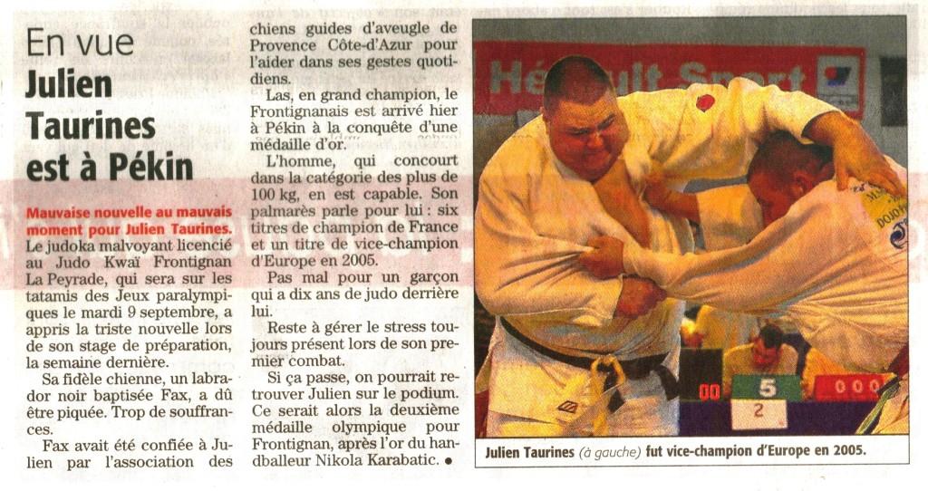 07 Septembre 2008 (Midi Libre): Julien & Pékin