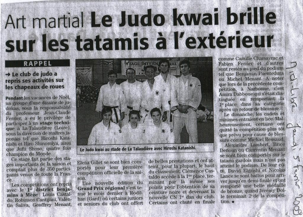 05 Février 2009 (Midi Libre): Début de l'année 2009