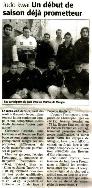 23 Octobre 2007 (Midi Libre): Compétition par Equipe à Mauguio