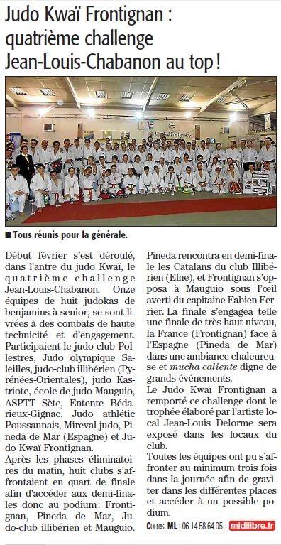 14 Février 2014 (Midi Libre): Un 4ème Challenge Chabanon au top !