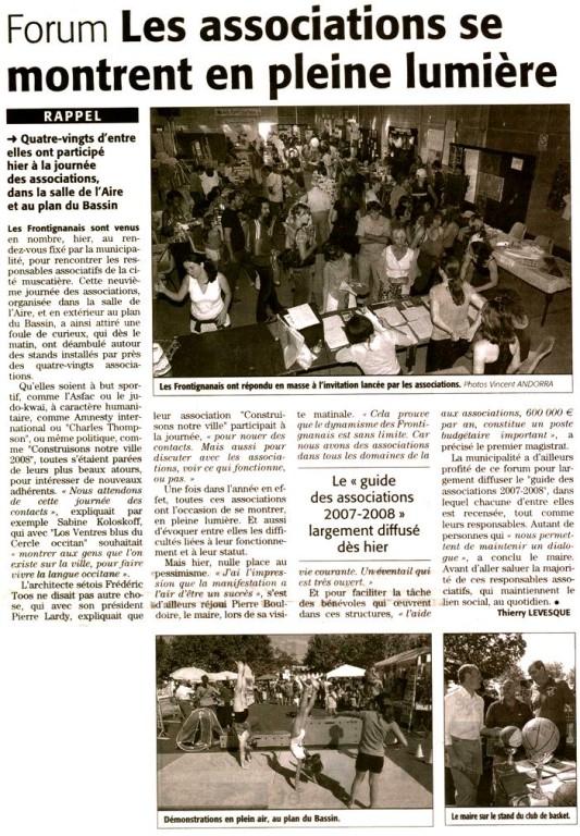 10 Septembre 2007 (Midi Libre): Journée des Associations