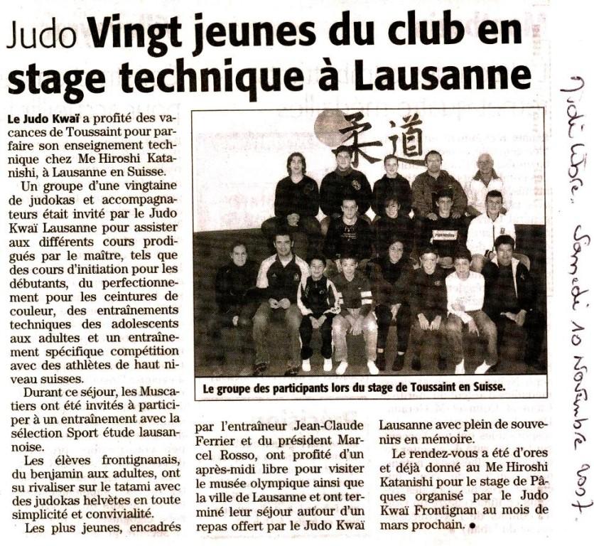 10 Novembre 2007 (Midi Libre): Stage Technique à Lausanne