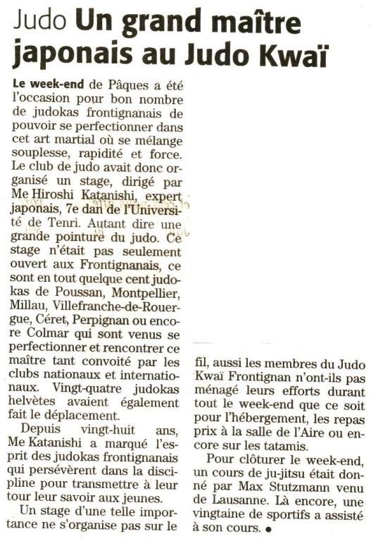 29 Mars 2008 (Midi Libre): Stage de Pâques 2008