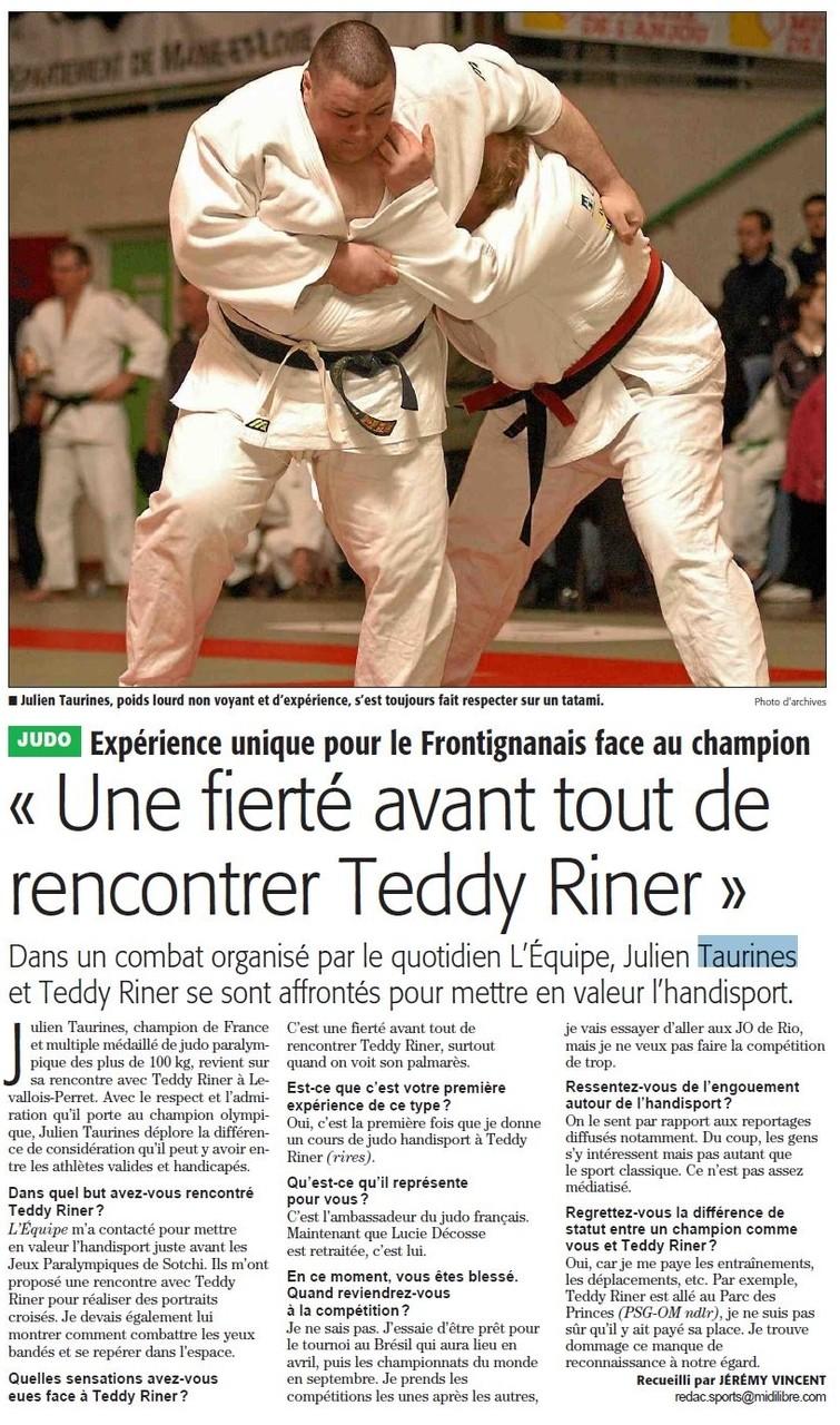 Avril 2014 (Midi Libre): Rencontre Taurines / Riner