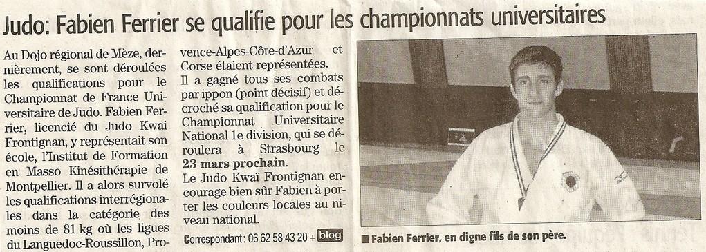 (Midi Libre): Fabien Ferrier au Championnat de France Universitaire