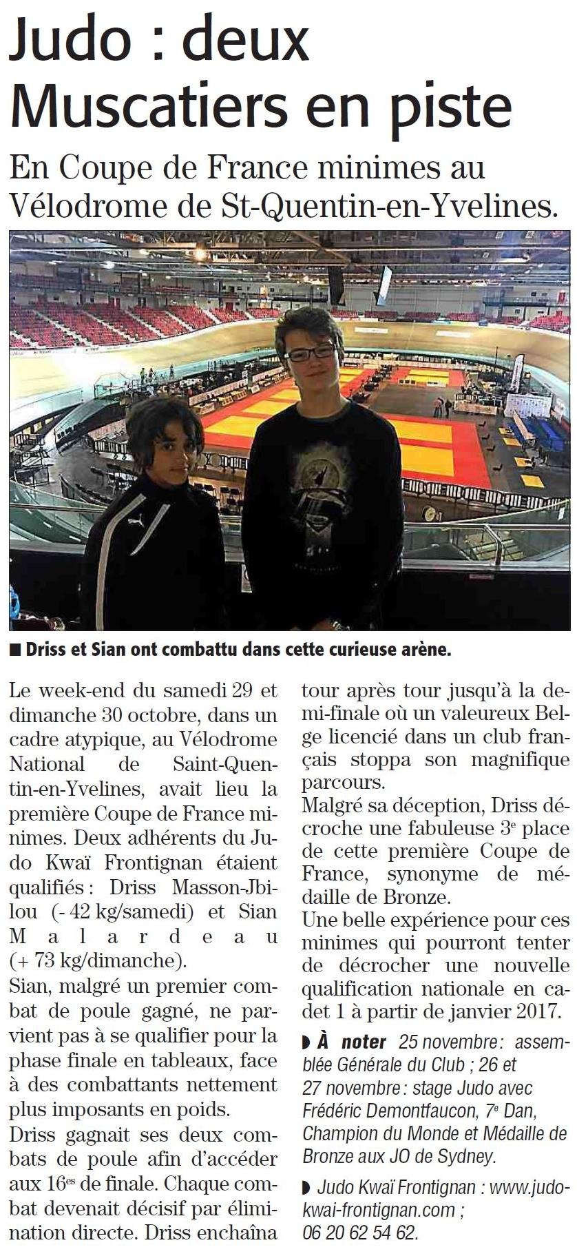 07 Novembre 2016 (Midi Libre): Coupe de France Minimes pour Driss et Sian - Driss, Médaille de Bronze