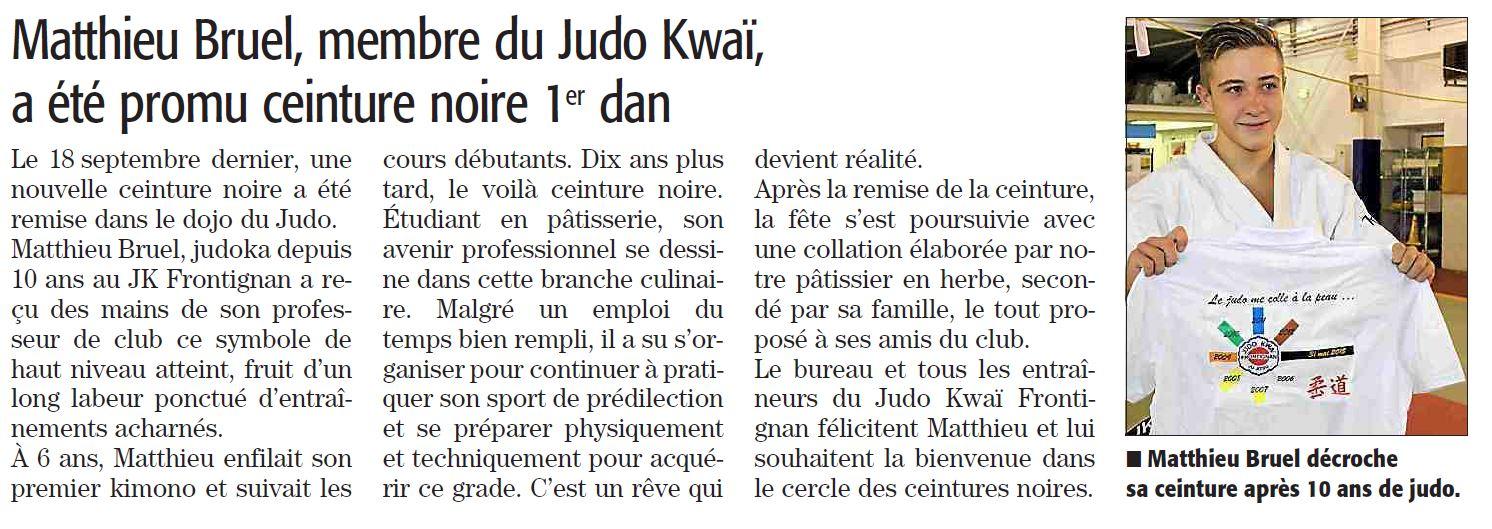 06 Octobre 2015 (Midi Libre): CN pour Matthieu Bruel