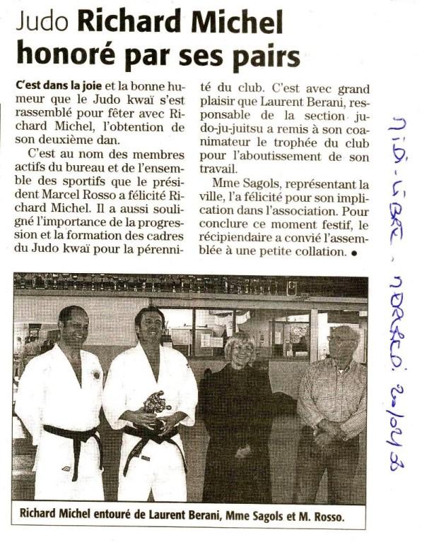 20 Février 2008 (Midi Libre): Richard Michel 2ème Dan