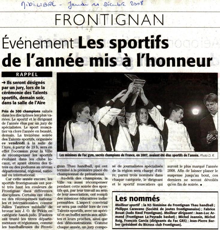11 Décembre 2008 (Midi Libre): Les Talents Sportifs