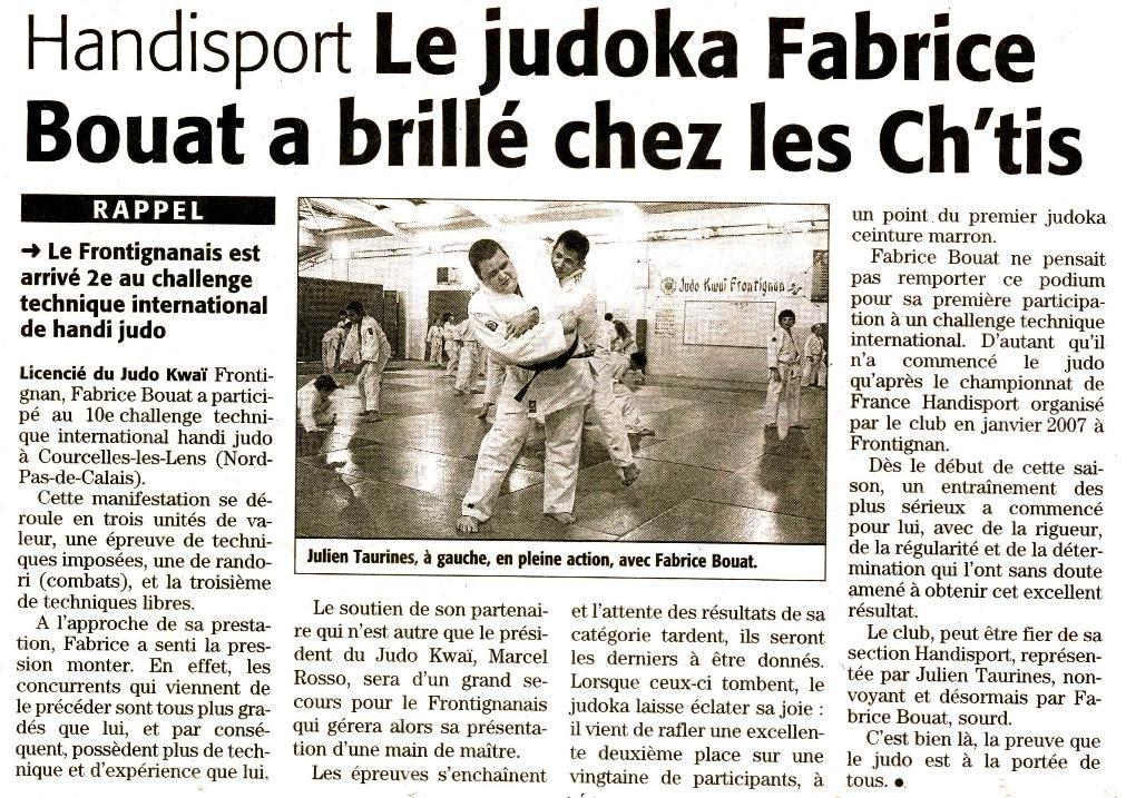 07 Mai 2008 (Midi Libre): Fabrice Bouat chez les Ch'tis