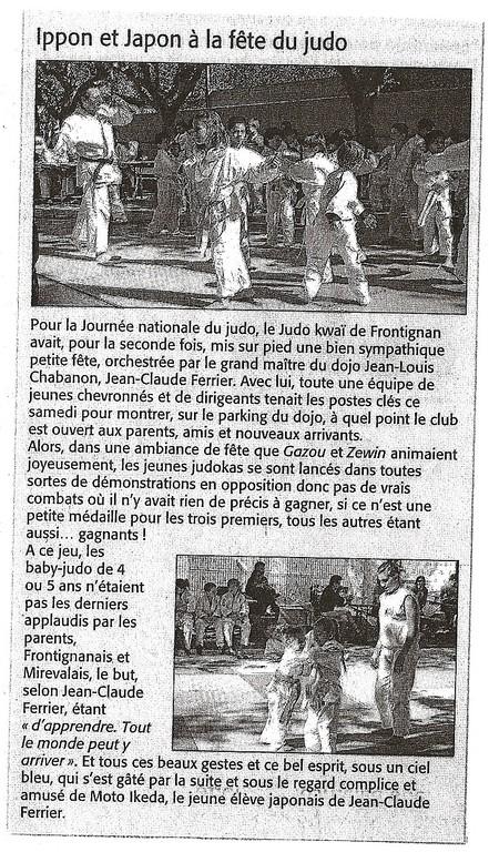 Septembre 2010 (Midi Libre): La Rentrée du JKF