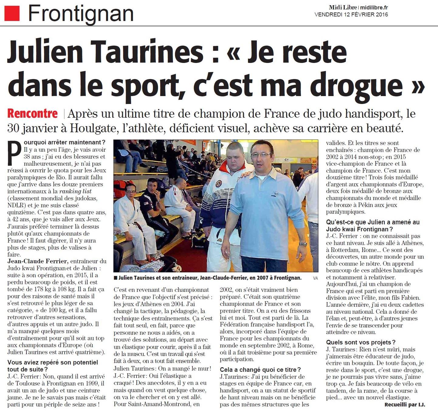12 Février 2016 (Midi Libre): Julien Taurines, Champion de France et fin de carrière