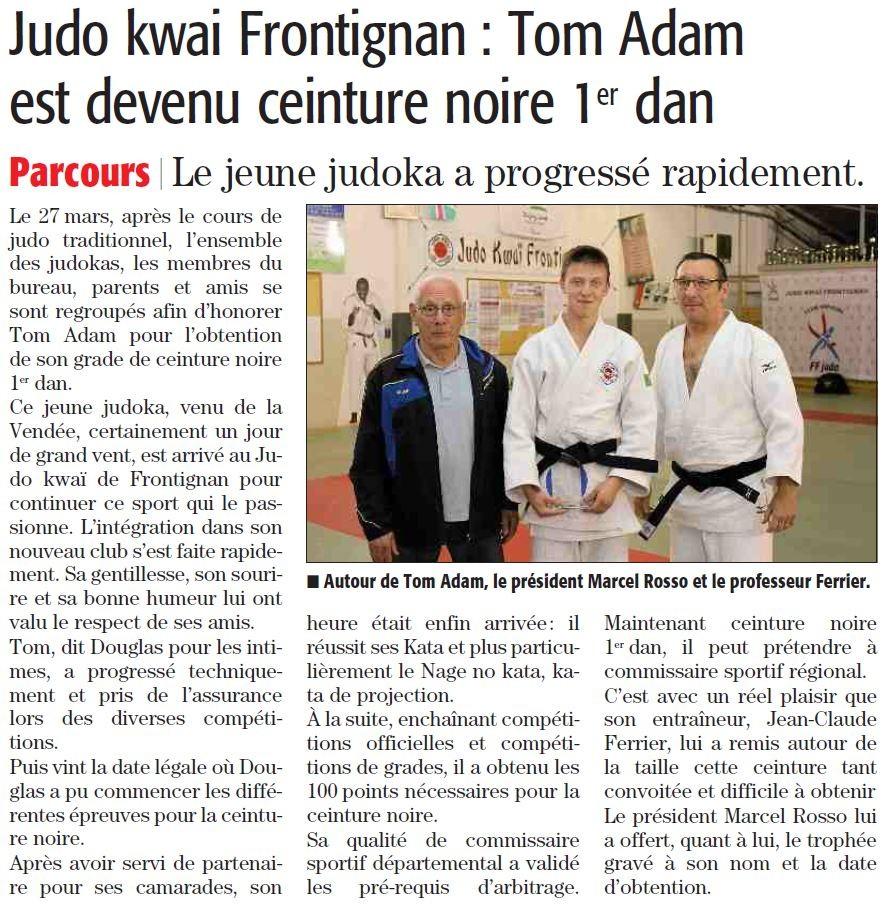 04 Avril 2015 (Midi Libre): CN pour Tom Adam