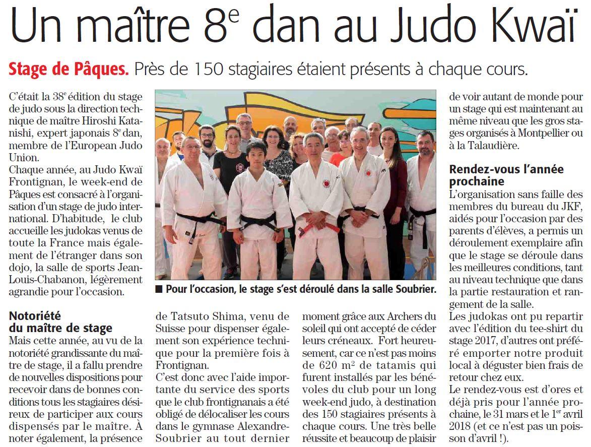 04 Mai 2017 (Midi Libre): Stage de Pâques