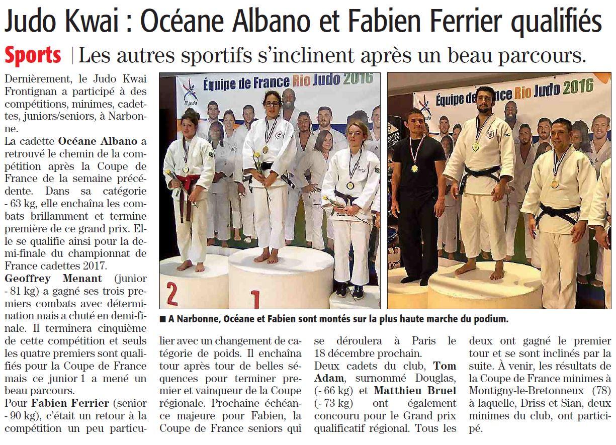 03 Novembre 2016 (Midi Libre): Des qualifications pour Océane A. et Fabien F.