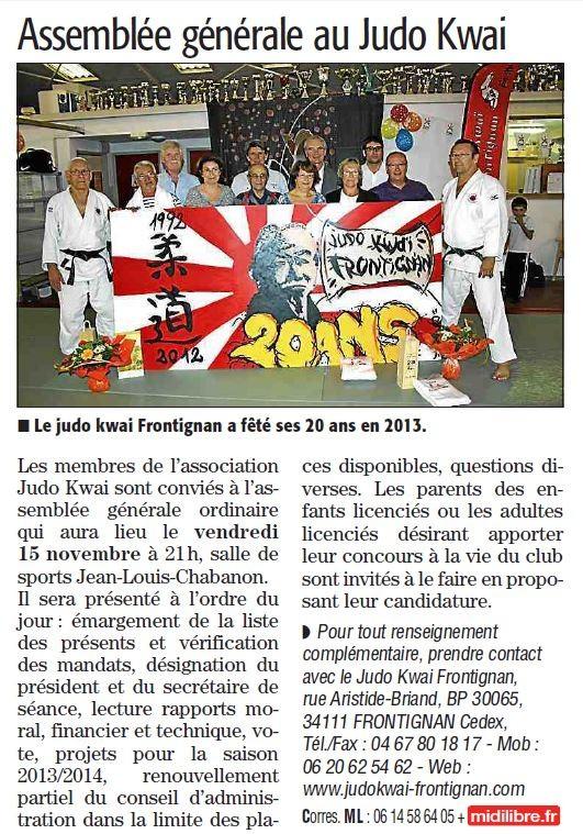 08 Novembre 2013 (Midi Libre): L'assemblée générale du JKF