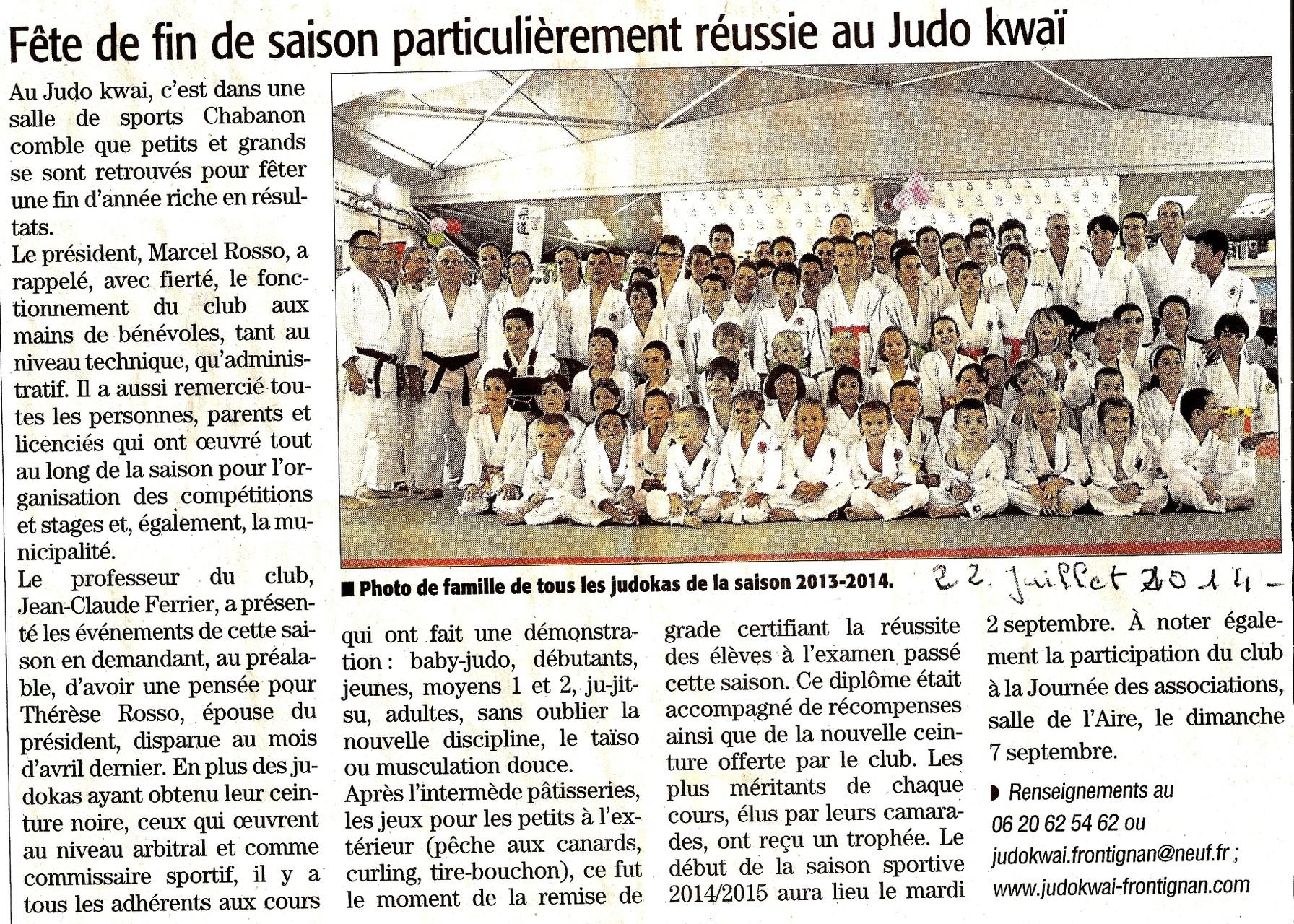 22 Juillet 2014 (Midi Libre): Fête du Club