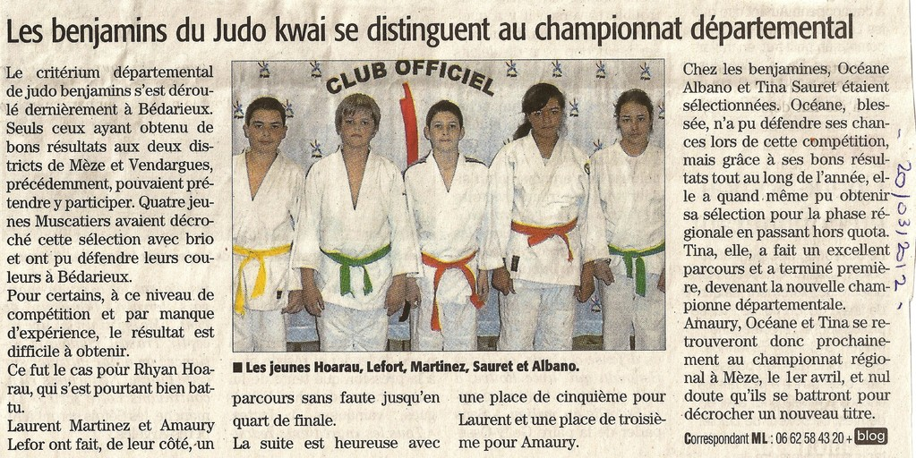20 Mars 2012 (Midi Libre): Les Benjamins du JKF se distinguent au Championnat Départemental