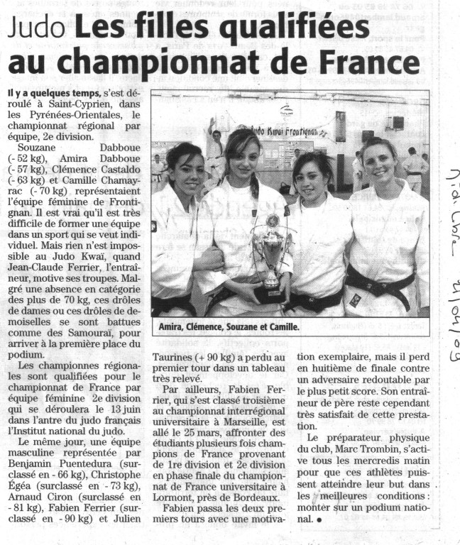21 Avril 2009 (Midi Libre): Les Filles qualifiées au Championnat de France 2ème Division Equipe