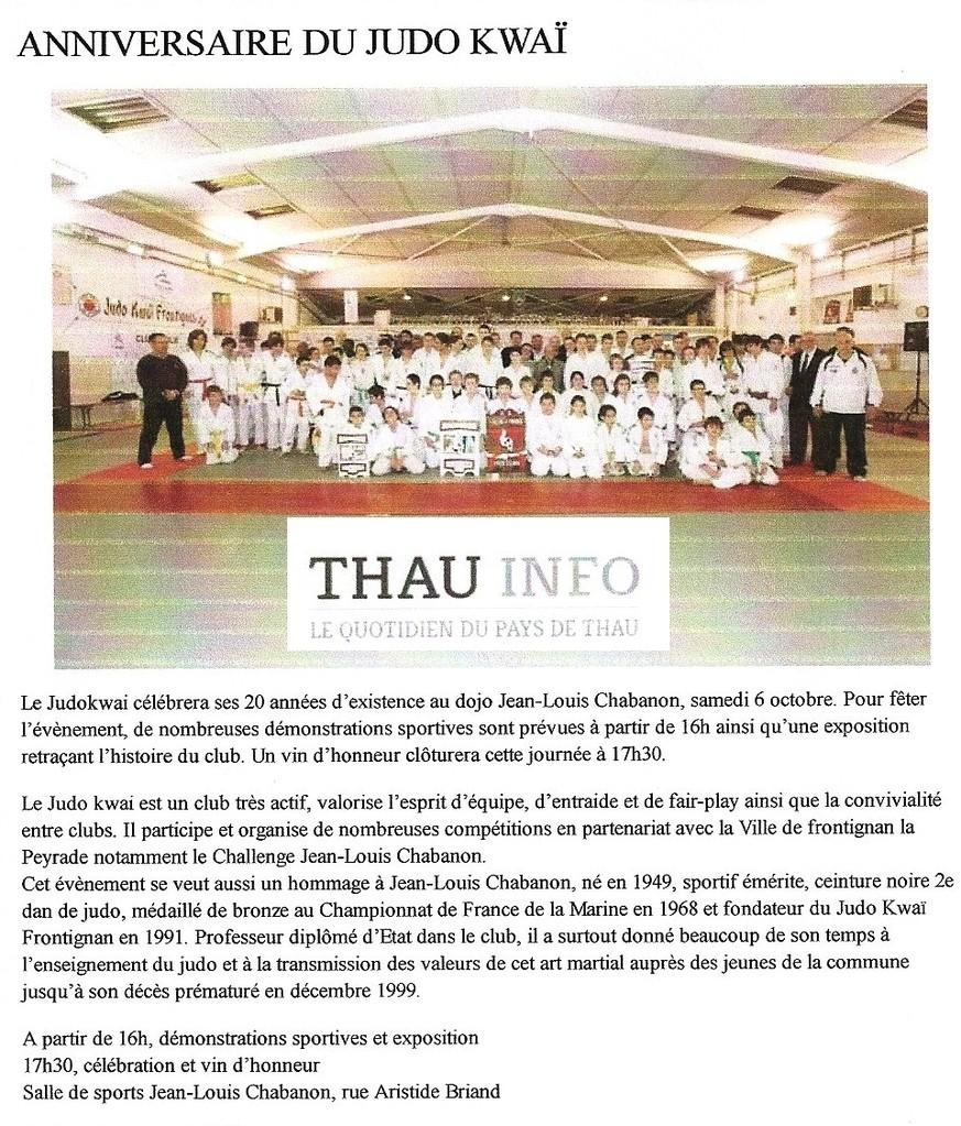 Octobre 2012 (Thau Info): Anniversaire du Judo Kwaï Frontignan