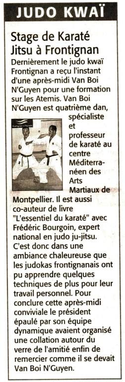 3 Juin 2008 (Midi Libre): Stage de Karaté Jitsu (Van Boï Nguyen)