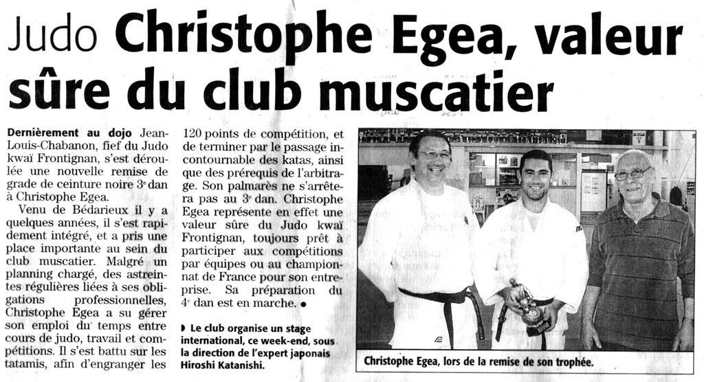 11 Avril 2009 (Midi Libre): 3ème Dan Christophe Egea