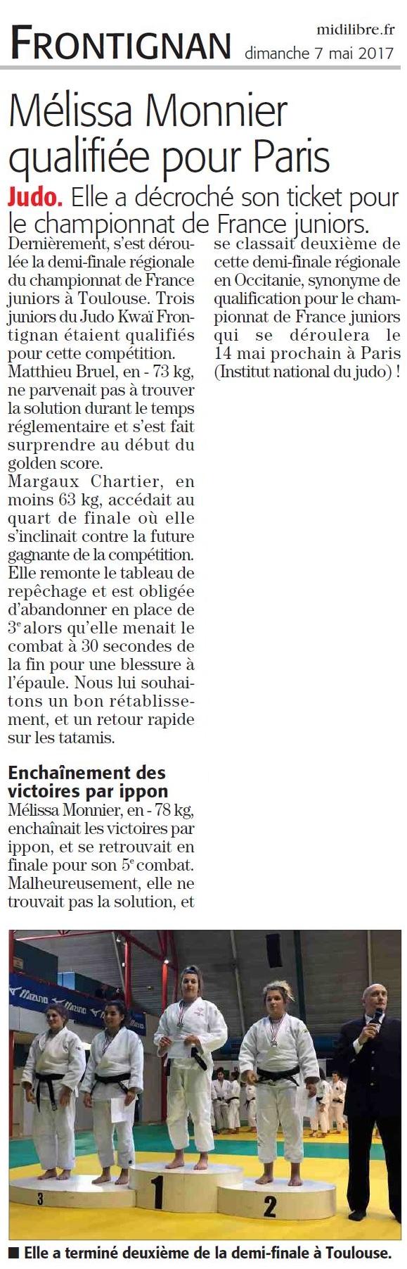 07 Mai 2017 (Midi Libre): Qualification au Championnat de France Juniors, Mélissa Monnier