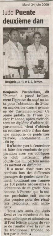 24 Juin 2008 (Midi Libre): Benjamin Puentedura 2ème Dan