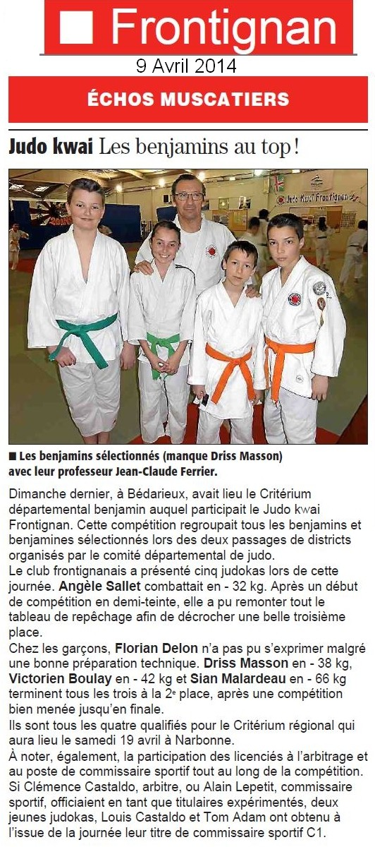 09 Avril 2014 (Midi Libre): Des benjamins au top au niveau départemental
