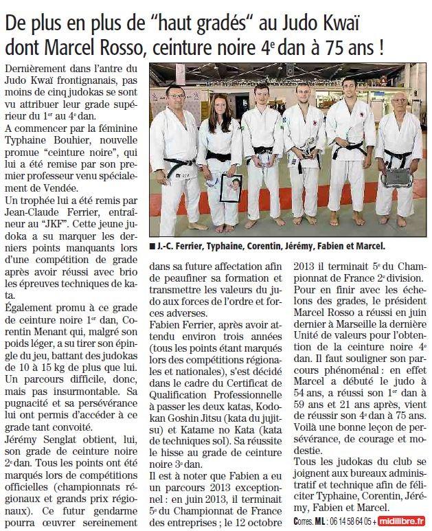 07 Novembre 2013 (Midi Libre): 5 nouveaux gradés au JKF