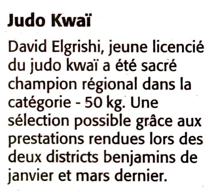 21 Mai 2008 (Midi Libre): David Elgrishi
