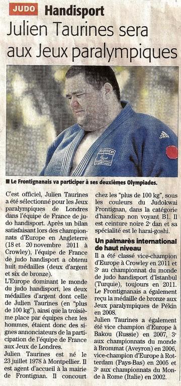 13 Juillet 2012 (Midi Libre): Julien Taurines sera aux Jeux Paralympiques