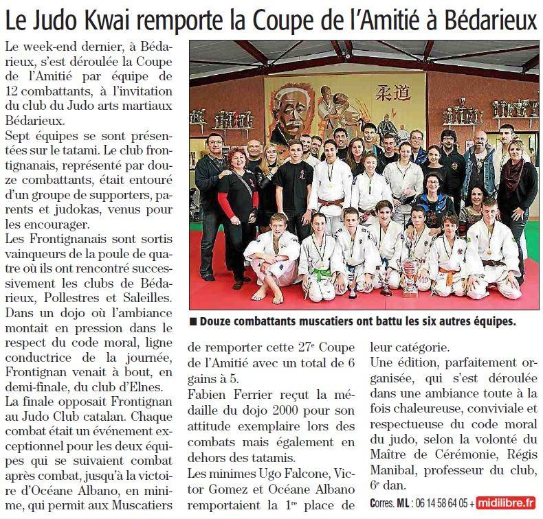 21 Février 2014 (Midi Libre): Le JKF vainqueur à Bédarieux