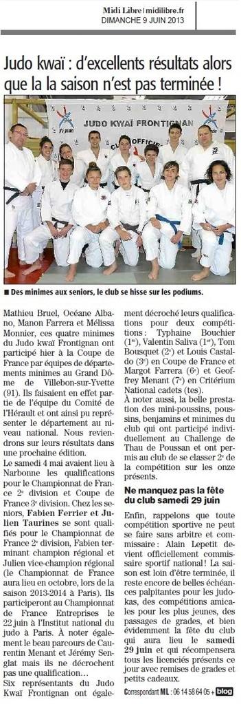 09 Juin 2013 (Midi Libre): D'excellentes résultats en fin de saison