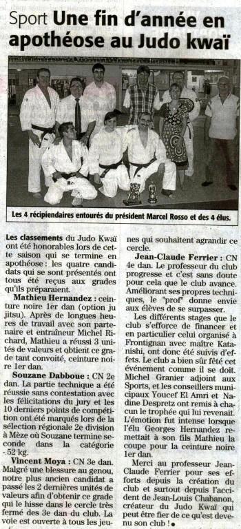 29 Juillet 2008 (Midi Libre): Quatre nouveaux gradés au JKF !!