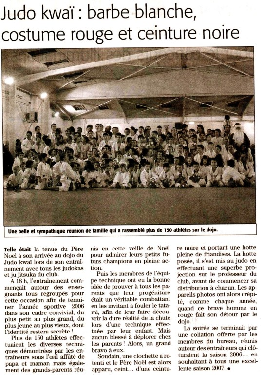 05 Janvier 2007 (Midi Libre): Noël au Judo Kwaï Frontignan