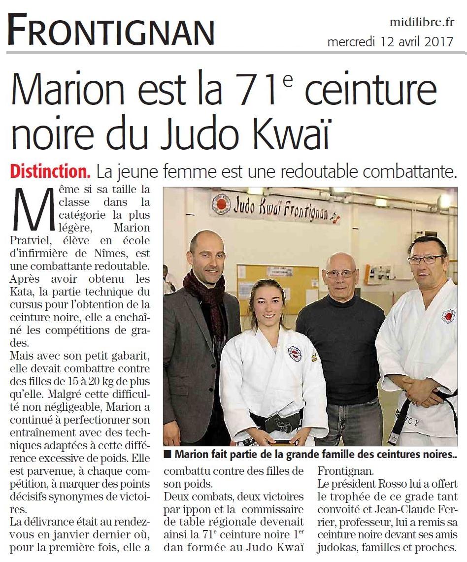 12 Avril  2017 (Midi Libre): CN pour Marion Pratviel