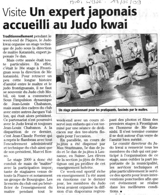 17 Mai 2009 (Midi Libre): Un Expert Japonais accueilli au Judo Kwaï