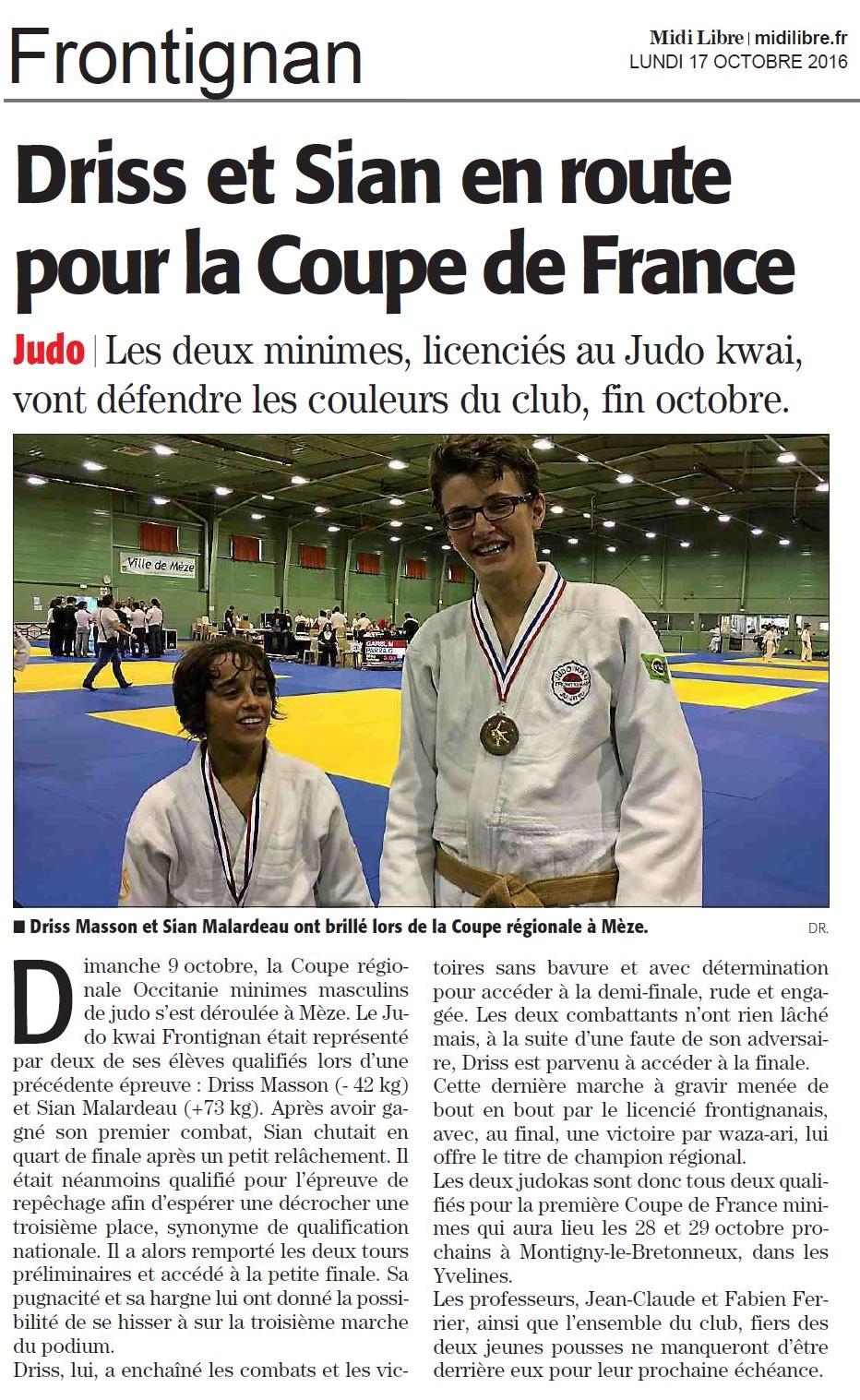 17 Octobre 2016 (Midi Libre): Coupe Régionale Minimes et Qualifications